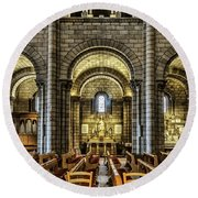 Monaco Cathedral Round Beach Towel by Maria Coulson