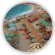 Monterosso Beach Round Beach Towel by Inge Johnsson