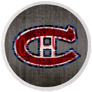 Montreal Canadiens Hockey Team Retro Logo Vintage Recycled Quebec Canada License Plate Art Round Beach Towel by Design Turnpike