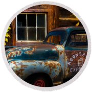 Moonshine Express Round Beach Towel by Debra and Dave Vanderlaan