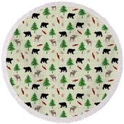 Moose And Bear Pattern Round Beach Towel by Christina Rollo