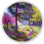 Morning Dew Round Beach Towel by Jane Small