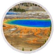 Grand Prismatic Geyser Yellowstone National Park Round Beach Towel by Edward Fielding