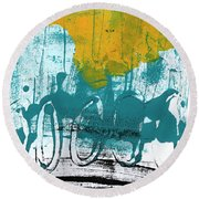 Morning Ride Round Beach Towel by Linda Woods