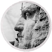 Mount Rushmore Construction Photo Round Beach Towel by War Is Hell Store