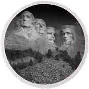 Mount Rushmore South Dakota Dawn  B W Round Beach Towel by Steve Gadomski