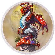 Mushroom Dragon Round Beach Towel by Stanley Morrison