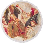 Musical Angels, Detail From The Assumption Of The Virgin Round Beach Towel by Taborda Vlame Frey Carlos