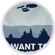 My I Want To Believe Minimal Poster-enterprice Round Beach Towel by Chungkong Art