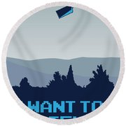 My I Want To Believe Minimal Poster- Tardis Round Beach Towel by Chungkong Art