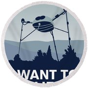 My I Want To Believe Minimal Poster-war-of-the-worlds Round Beach Towel by Chungkong Art