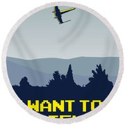 My I Want To Believe Minimal Poster- Xwing Round Beach Towel by Chungkong Art