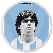 My Maradona Soccer Legend Poster Round Beach Towel by Chungkong Art