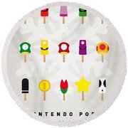 My Mario Ice Pop - Univers Round Beach Towel by Chungkong Art
