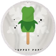 My Muppet Ice Pop - Kermit Round Beach Towel by Chungkong Art