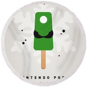 My Nintendo Ice Pop - Luigi Round Beach Towel by Chungkong Art