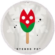 My Nintendo Ice Pop - Piranha Plant Round Beach Towel by Chungkong Art