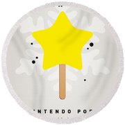 My Nintendo Ice Pop - Super Star Round Beach Towel by Chungkong Art