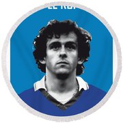 My Platini Soccer Legend Poster Round Beach Towel by Chungkong Art