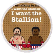 My Rocky Lego Dialogue Poster Round Beach Towel by Chungkong Art