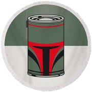 My Star Warhols Boba Fett Minimal Can Poster Round Beach Towel by Chungkong Art