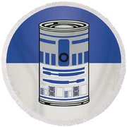 My Star Warhols R2d2 Minimal Can Poster Round Beach Towel by Chungkong Art