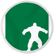 My Superhero 01 Angry Green Minimal Poster Round Beach Towel by Chungkong Art