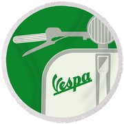 My Vespa - From Italy With Love - Green Round Beach Towel by Chungkong Art