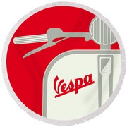 My Vespa - From Italy With Love - Red Round Beach Towel by Chungkong Art