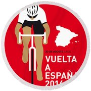 My Vuelta A Espana Minimal Poster 2014 Round Beach Towel by Chungkong Art