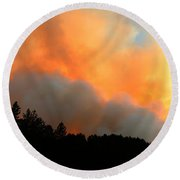 Round Beach Towel featuring the photograph Myrtle Fire Near Rifle Pit Road by Bill Gabbert