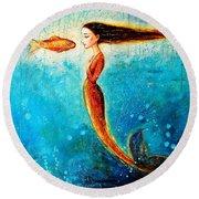 Mystic Mermaid II Round Beach Towel by Shijun Munns