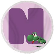 N Round Beach Towel by Gina Dsgn