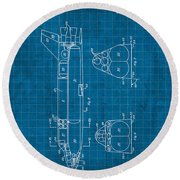 Nasa Space Shuttle Vintage Patent Diagram Blueprint Round Beach Towel by Design Turnpike