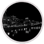 Nashville Skyline At Night In Black And White Round Beach Towel by Dan Sproul