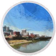 Nashville Skyline Panorama Round Beach Towel by Dan Sproul