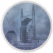 Nashville Skyline Sketch Round Beach Towel by Dan Sproul