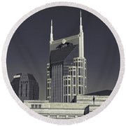 Nashville Tennessee Batman Building Round Beach Towel by Dan Sproul