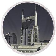 Nashville Tennessee Batman Building Round Beach Towel by Dan Sproul