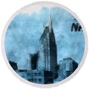 Nashville Tennessee In Blue Round Beach Towel by Dan Sproul