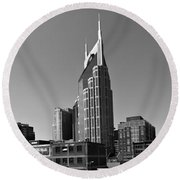 Nashville Tennessee Skyline Black And White Round Beach Towel by Dan Sproul