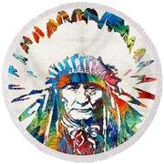Native American Art - Chief - By Sharon Cummings Round Beach Towel by Sharon Cummings