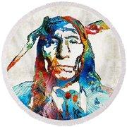 Native American Art By Sharon Cummings Round Beach Towel by Sharon Cummings