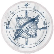 Nautical Observation Apparatus Patent From 1895  -  Blue Ink Round Beach Towel by Aged Pixel