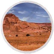Navajo Nation Series Along Arizona Highways Round Beach Towel by Bob and Nadine Johnston