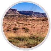 Navajo Nation Series Along 87 And 15 Round Beach Towel by Bob and Nadine Johnston