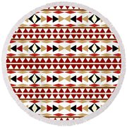 Navajo White Pattern Round Beach Towel by Christina Rollo