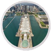 Navy Pier Chicago Aerial Round Beach Towel by Adam Romanowicz