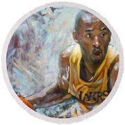 Nba Lakers Kobe Black Mamba Round Beach Towel by Ylli Haruni