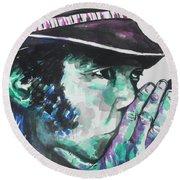 Neil Young Round Beach Towel by Chrisann Ellis